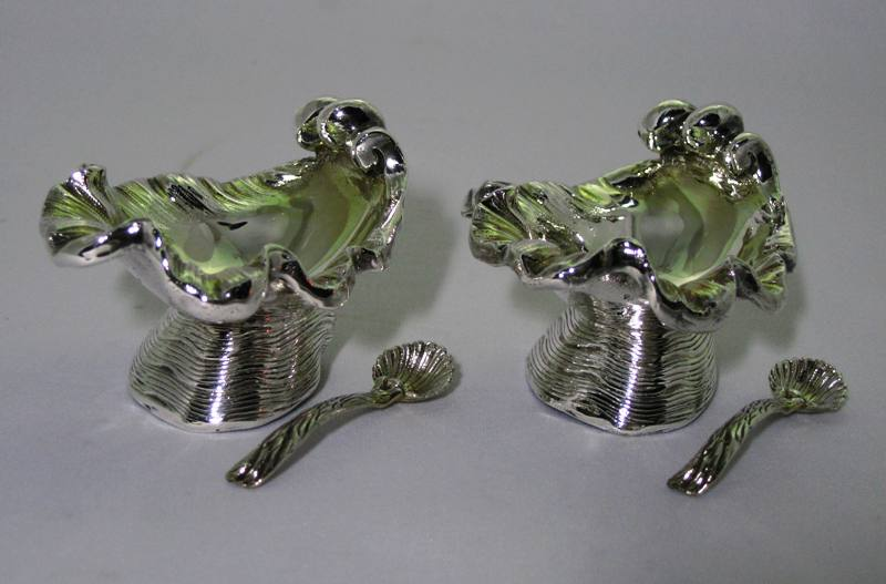 Sterling Silver Large Shell Salt and Pepper with Shell Spoons