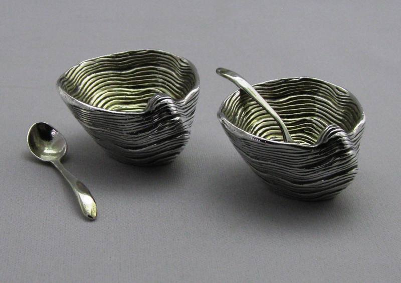 Sterling Silver Salt and Pepper Small Shells with Spoons